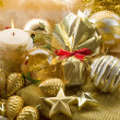 Gold xmas decorationes — Stock Photo #6464413