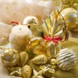 Gold xmas decorationes — Stock Photo #6464422