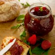 Strawberry jam with slice bread - Stock Photo