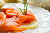 Salmon on dish — Stock Photo