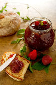 Strawberry jam with slice bread — Stock Photo