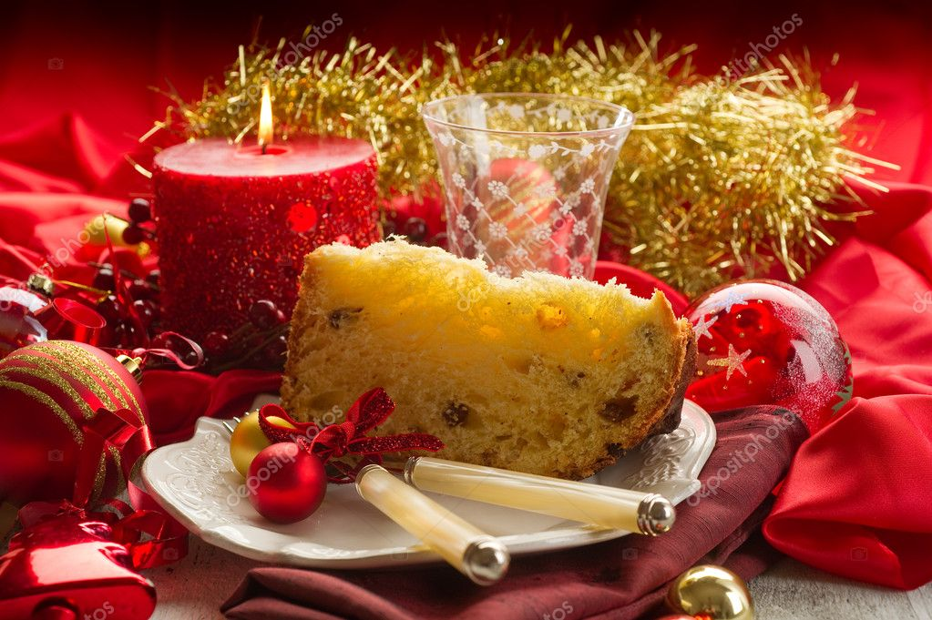 Panettone traditional italian christmas dessert stock photo