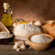 Dough and ingredients for homemade bread — Stock Photo #6476000