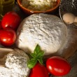 Dough and ingredients for homemade pizza — Stock Photo #6476861