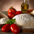 Dough and ingredients for homemade pizza — Stock Photo #6476892