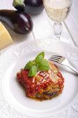 Parmigiana traditional italian recipe with eggplant — Stock Photo