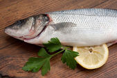 Seabass with ingredients ready to cooking — Stock Photo