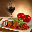 Meat balls with tomatoes sauce — Stock Photo