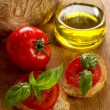 Tomato bread and olive oil — Stockfoto