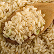 Whole rice over wood spoon — Stok Fotoğraf #6492335