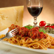 Stock Photo: Spaghetti with meatballs and tomatoes sauce