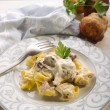 Tortellini wit ham and cream sauce - Stock Photo