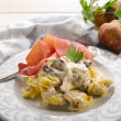 Stock Photo: Tortellini wit parmham and cream sauce