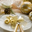Gold xmas table with decorations — Stock Photo #6498852