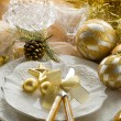 Gold xmas table with decorations — Stock Photo #6498871