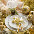 Gold xmas table with decorations — Stock Photo #6498902