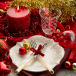 Red xmas luxury table — Stock Photo