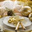 Gold xmas table with decorations — Stock Photo #6499036