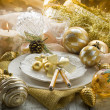 Gold xmas table with decorations — Stock Photo #6499065