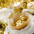 Luxury gold xmas table — Stock Photo
