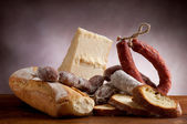 Italian salami parmesan cheese — Stock Photo