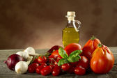 Ingredients for italian tomato pasta sauce — Stock Photo