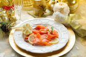 Salmon on dish — Foto de Stock