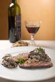 Escalope with stuffed mushroom — Stock Photo