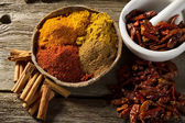 Variety of spice on wood background — Stockfoto