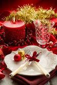 červená vánoční luxusní stůl — Stock fotografie
