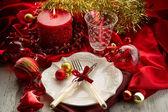 Red xmas luxury table — Stock Photo