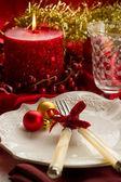 Tabella di lusso rosso natale — Foto Stock