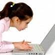 Little girl and laptop — Stock Photo #6511477