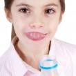 Little girl with milk — Stock Photo #6511481