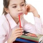 Little girl studyng — Stock Photo