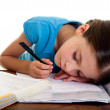 Child sleeps while she studies — Stock Photo #6511981