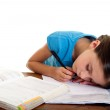 Child sleeps while she studies — Stock Photo #6511985