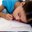Child sleeps while she studies — Stock Photo #6511987