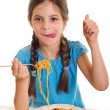 Royalty-Free Stock Photo: Cute little girl eating spaghetti