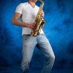 Man with sax — Stock Photo