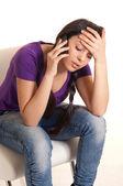Sad girl with phone — Stock Photo