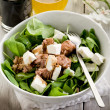 Mixed salad with fresh spinach tuna and feta cheese — Stock Photo #6534771