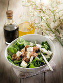 Mixed salad with fresh spinach tuna and feta cheese — Stock Photo