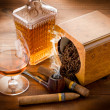 Pipe tobacco cuban cigar and liquor — Stock Photo #6617645