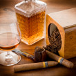 Pipe tobacco cuban cigar and liquor - Stock Photo