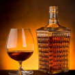 Glass and luxury bottle of liquor — Stock Photo #6642257