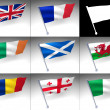 Royalty-Free Stock Photo: Eight Europe flags flag on a pole