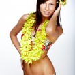 Beautiful exotic girl with Hawaiian accessories — Stock Photo