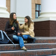 Teenage students on campus — Stock Photo