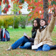 Two young teenage students on campus — Stock Photo
